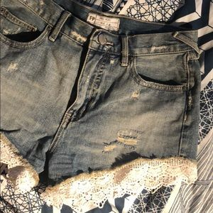 FP Lace Denim Shorts
